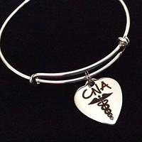 CNA Heart Stainless Steel Charm on Silver Bracelet Expandable Adjustable Wire Bangle Nurse Medical Gift Trendy