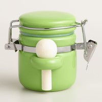 Mini Green Ceramic Canisters with Spoons, Set of 6