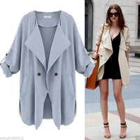 Fashion Women Slim Long Coat Jacket Trench Windbreaker Parka Outwear Cardigan