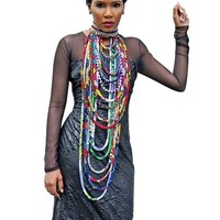 Long Ankara Cloth Rope Necklace