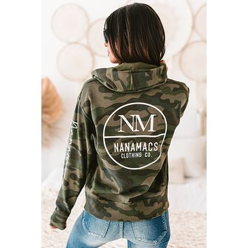 """Nanamacs Clothing Co."" Camo Graphic Zipper Hoodie (Forest Camo) - Print On Demand"
