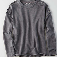 AEO Terry Lace-Up Shoulder Sweatshirt , Black