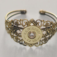 Remington 12 Gauge Shotgun Shell Bullet  Bracelet Cuff Filigree Swarovski Crystal Custom Made