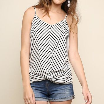 Off White Striped Gathered Tank Top