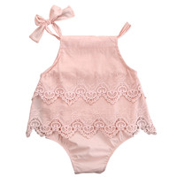 Newborn Baby Girls Lace Sleeveless Romper Cotton Jumpsuit Outfit Sunsuit Flower Clothes 0-18M