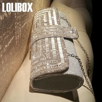 LOLIBOX Women Clutch Evening Bags rhinestone Sparkly Ladies Party Clutch Purse Crystals Long Chain Wedding Bridal Clutch Bag