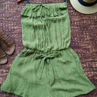 Romper Playsuit Jumpsuit strapless summer Clothing Boho Beach wear Chic clothes Comfy fabric women Green