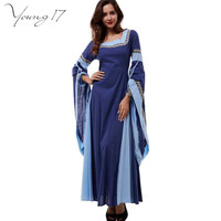 Young17 medieval dress light blue vintage style gothic dress floor length women cosplay dresses retro long medieval dress gown