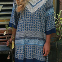 Free As The Sea Navy Multi Print Dress With Crochet Details & Quarter Length Sleeves