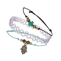 Tattoo And Cord Bracelet Set