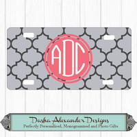 Round Monogram License Plate Choose Colors Personalized Car License Plate - Sweet 16 Gift for Girl Chevron Car Tag!