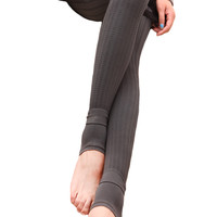 Gray Ribbed Stirrup Leggings Design 300