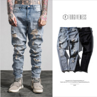 Spring and summer men's jeans straight embroidery hole jeans