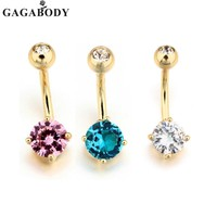 2017 Clear Crystal Stainless Steel Blue/Pink/White Rhinestone Belly Ring Body Piercing Dangle Gold Color Navel Ring