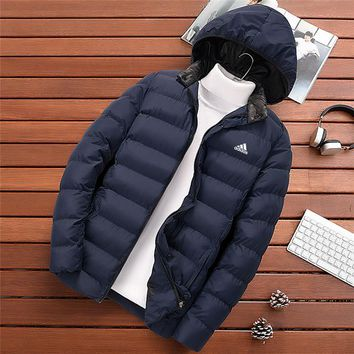 ADIDAS autumn and winter models slim thick casual men's sports hooded cotton clothes blue