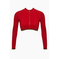 Long Sleeve Mesh Cropped Rashguard Bikini Top - Red