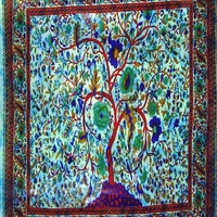 """Wall Tapestry-- Choose Your Style & Size!!-- Tree Of Life--Periodic Table-- Music-- Use as a Wall Hanging, Bed Sheet, Table Cloth, Curtain, Ceiling Art, Beach Blanket, Be Creative!! (60"""" x 90"""", Tree Of Life Light Blue)"""
