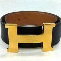 Auth HERMES H Belt Black Leather Square A Belt