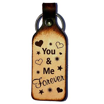 You & Me Forever Leather Keychain