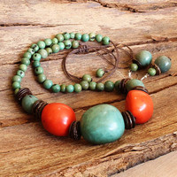 Blue and Orange Tagua Necklace and Earring Set, Organic Jewelry, Eco Friendly Jewelry, Big Bold Chunky, Statement Necklace  a1240