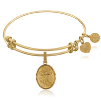 Expandable Bangle in Yellow Tone Brass with Cowboy Hat And Boot Symbol