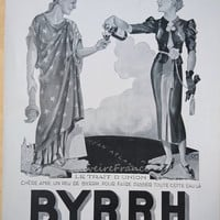 Original Vintage French Ad Byrrh Statue of Liberty and Marianne by Georges Léonnec 1937