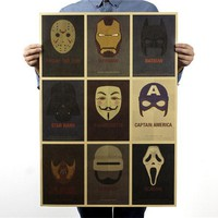 71*51.5cm Wall Decor USA famous movie characters HULK IRONMAN STAR WARS MASK Vintage paper Poster BAR PUB HOME