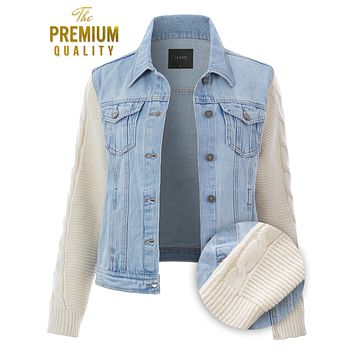 Denim Jacket with Cable Knit Sleeves (CLEARANCE)