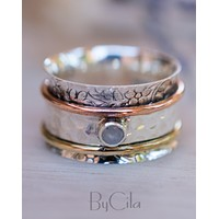 Cardiff Meditation Ring * Moonstone * Bronze, Copper and Sterling Silver * BJS024