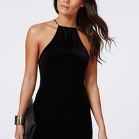Missguided - Masumi Velvet Strappy Bodycon Dress Black