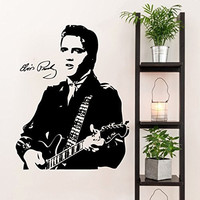 Elvis Presley and Guitar Silhouette Vinyl Wall Decal Sticker Graphic