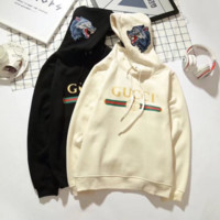 """""""Gucci"""" Women Personality Logo Letter Wolf Head Pattern Embroidery Long Sleeve Hooded Sweater Tops"""