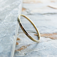 Thin Half Round Wedding Band in Solid 14k Yellow Gold - Tiny Gold Ring