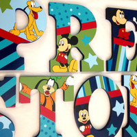 Personalized Wooden Wall Letters for Nurseries and Kids Rooms - Inspired by Mickey And Best Friends bedding With Mickey Mouse Goofy Pluto