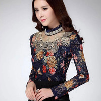 Blue Long Sleeve with Crochet Patchwork and Ruffle Beaded Neckline Floral Lace Top