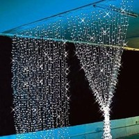 Ghope 3m x 3m with 400 leds LED Curtain Light / Decoration / Christmas / Fairy / Festival / Novelty Light Lamp Bulb String Strips Rope Lights - Ideal to Creat a Good Mood for Holidays Wedding Party Stage Home Hotel KTV Bar Coffee Shop Celebrating Days - Wh