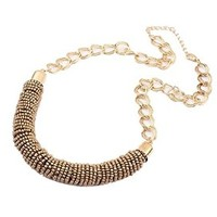 Women Gold Chain Seed Bead Woven Pendant Necklaces