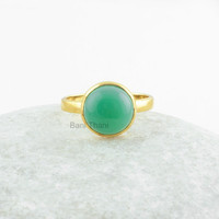 Chrysoprase Chalcedony Round Smooth Gemstone Ring Micron Gold Plated 925 Sterling Silver Ring, Bridal Ring, 10mm - #1004