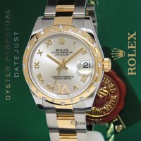 Rolex Datejust 18k Yellow Gold/Steel Diamond VI Midsize Watch NOS 178343
