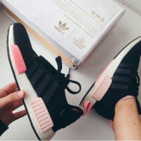 """""""Adidas"""" NMD Trending Fashion Casual Sports Shoes Black(Pink white soles)"""