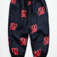 Black Emoji Joggers Red 100 3D Print Cropped Sweatpants