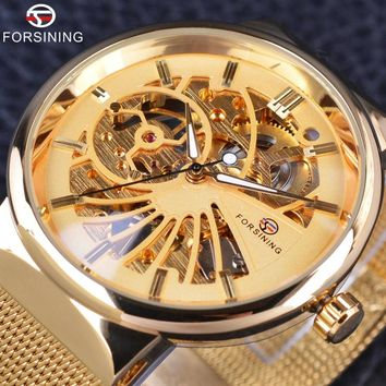 Forsining Golden Fashion Series Simple Skeleton Design Stainless Steel Open Work Mens Watches Top Brand Luxury Mechanical Watch