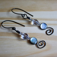 Black Aluminum Wire Wrapped Earrings with Black Natural Shell Beads and Faceted Champagne Quartz Beads