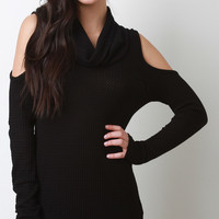 Cold Shoulder Cowl Thermal Top