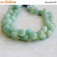 Mega SALE Amazonite Gemstone Faceted Onion Briolette Aqua 8mm 25 beads
