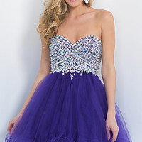 Short Fit and Flare Strapless Homecoming Dress by Blush