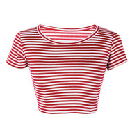 Stripe/Solid Short Sleeve Crop Top