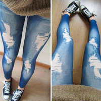 Women Legging Strenchy Fitness Casual Ripped Jeggings New Fashion Trend Solid Leggings Roupas