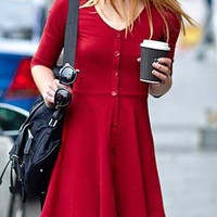 Red Button-Up Skater Dress