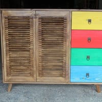 multi colored sideboard.french shutter doors multi color trays available in all dimensionds and colors